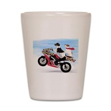 Jack Russells on a motorcycle Shot Glass