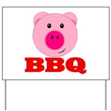 Pink Pig Red BBQ Yard Sign