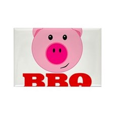 Pink Pig Red BBQ Rectangle Magnet