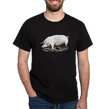Victorian Pig Black T-Shirt