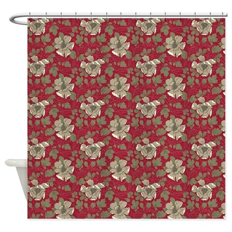 retro red floral shower curtain by esangha
