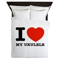 I Love My Ukulele Queen Duvet