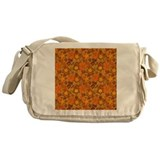 Orange Floral Pattern Messenger Bag