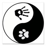 Dog Paw Print & Handprint Yin Yang Square Car Magn