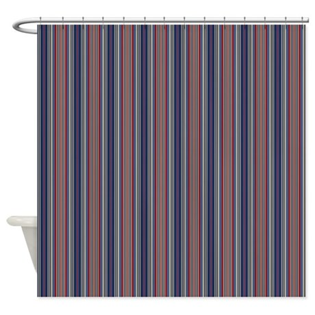 Red Blue Stripes Shower Curtain By Iloveyou1