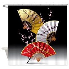 Japanese Cherry Fans Shower Curtain