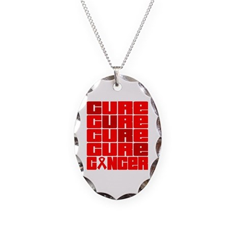 CURE Blood Cancer Collage Necklace Oval Charm