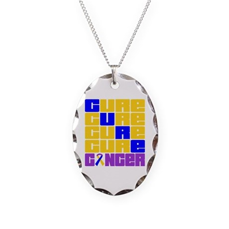 CURE Bladder Cancer Collage Necklace Oval Charm