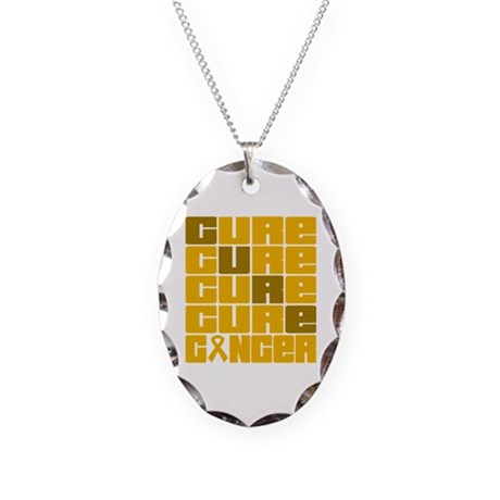 CURE Appendix Cancer Collage Necklace Oval Charm
