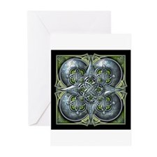 Silver & Green Celtic Tapestry Greeting Cards (Pk