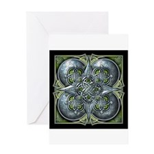 Silver & Green Celtic Tapestry Greeting Card