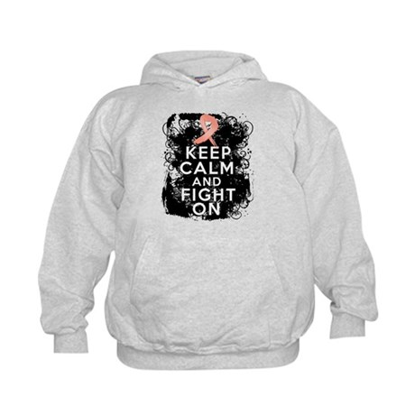 Uterine Cancer Keep Calm and Fight On Kids Hoodie
