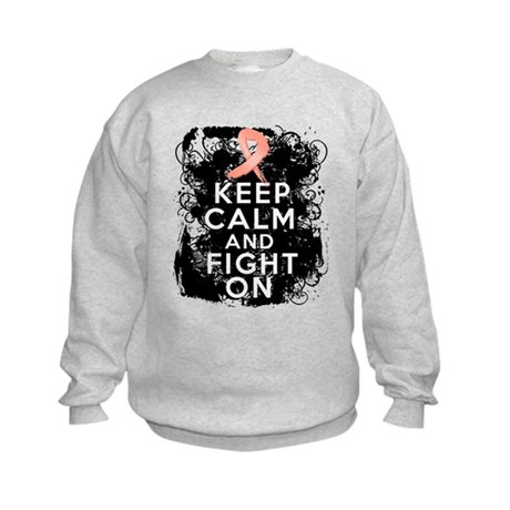 Uterine Cancer Keep Calm and Fight On Kids Sweatsh