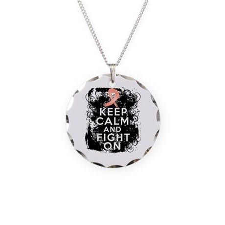Uterine Cancer Keep Calm and Fight On Necklace Cir