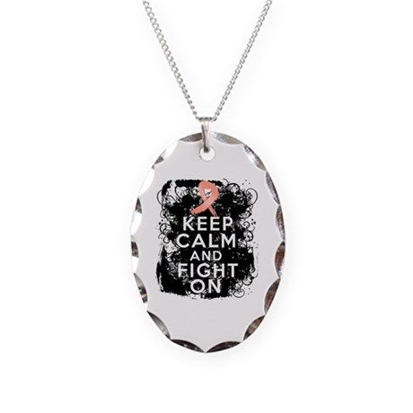 Uterine Cancer Keep Calm and Fight On Necklace Ova