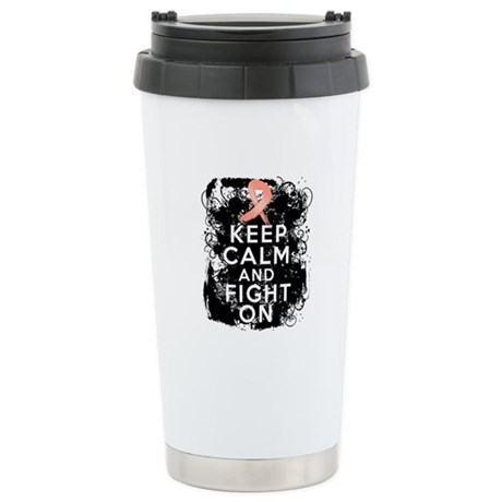 Uterine Cancer Keep Calm and Fight On Ceramic Trav