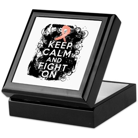 Uterine Cancer Keep Calm and Fight On Keepsake Box