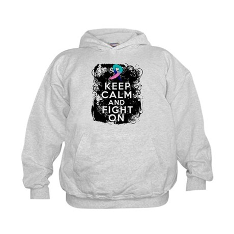 Thyroid Cancer Keep Calm and Fight On Kids Hoodie