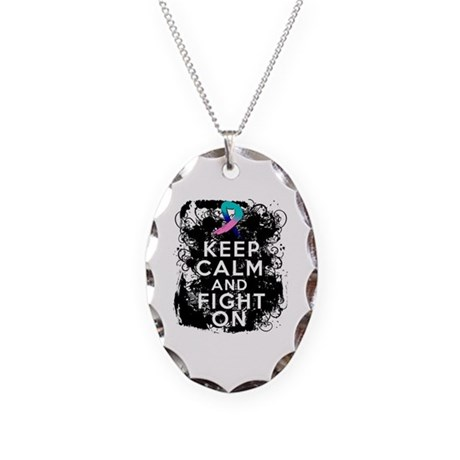 Thyroid Cancer Keep Calm and Fight On Necklace Ova