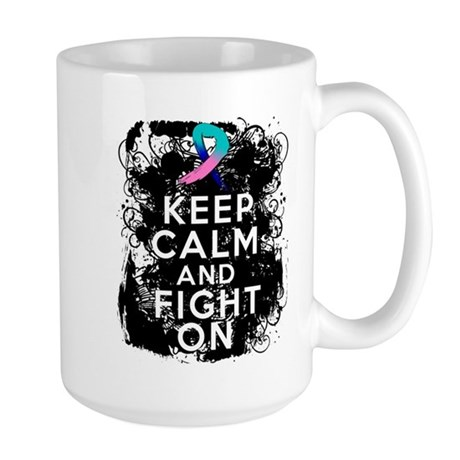 Thyroid Cancer Keep Calm and Fight On Large Mug