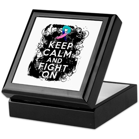 Thyroid Cancer Keep Calm and Fight On Keepsake Box