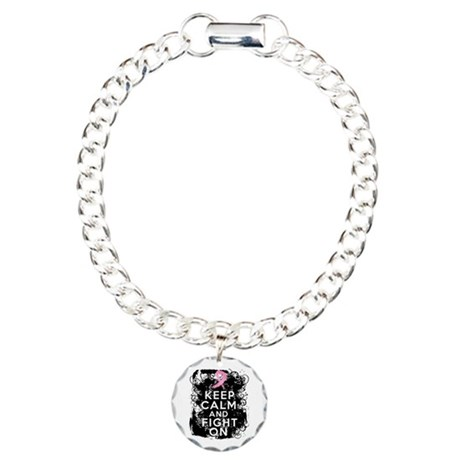 Breast Cancer Keep Calm and Fight On Charm Bracele
