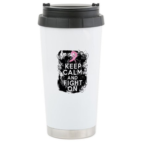 Breast Cancer Keep Calm and Fight On Ceramic Trave
