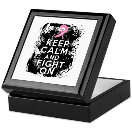 Breast Cancer Keep Calm and Fight On Keepsake Box