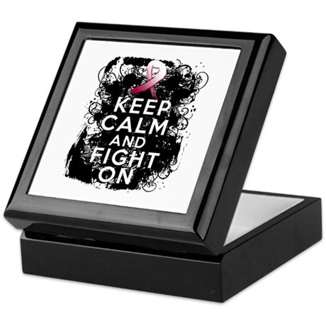 Throat Cancer Keep Calm and Fight On Keepsake Box