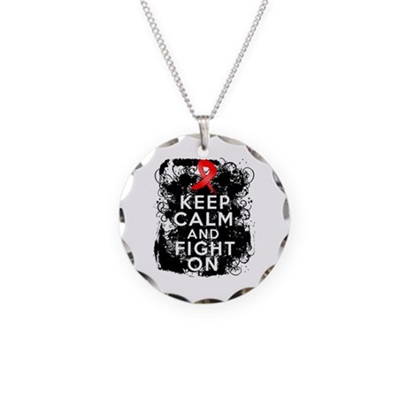 Stroke Keep Calm and Fight On Necklace Circle Char