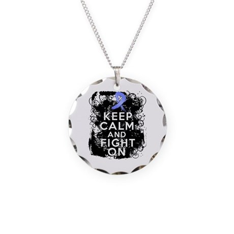Stomach Cancer Keep Calm and Fight On Necklace Cir