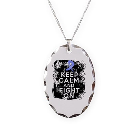Stomach Cancer Keep Calm and Fight On Necklace Ova