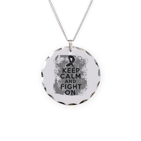 Skin Cancer Keep Calm and Fight On Necklace Circle
