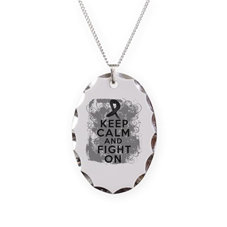 Skin Cancer Keep Calm and Fight On Necklace Oval C
