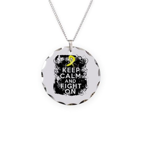 Sarcoma Keep Calm and Fight On Necklace Circle Cha