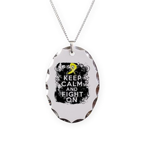 Sarcoma Keep Calm and Fight On Necklace Oval Charm