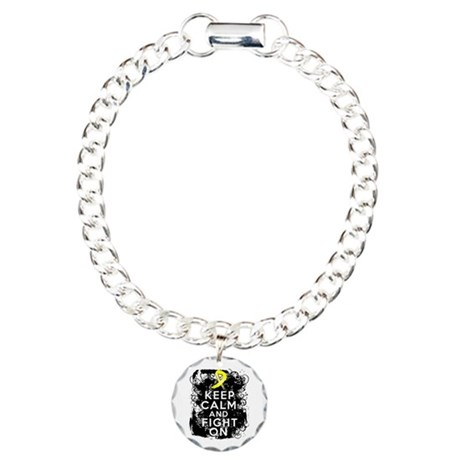 Sarcoma Keep Calm and Fight On Charm Bracelet, One