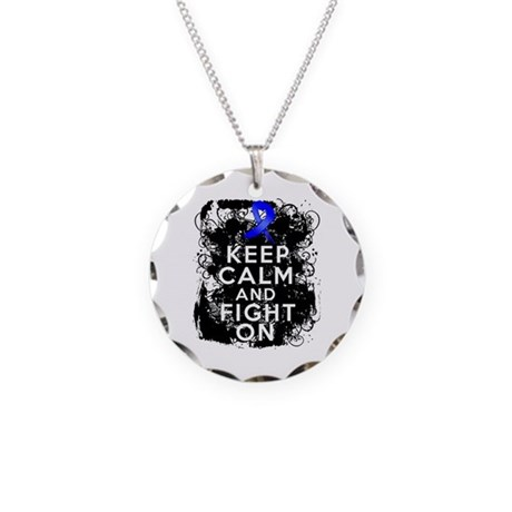 Rectal Cancer Keep Calm and Fight On Necklace Circ