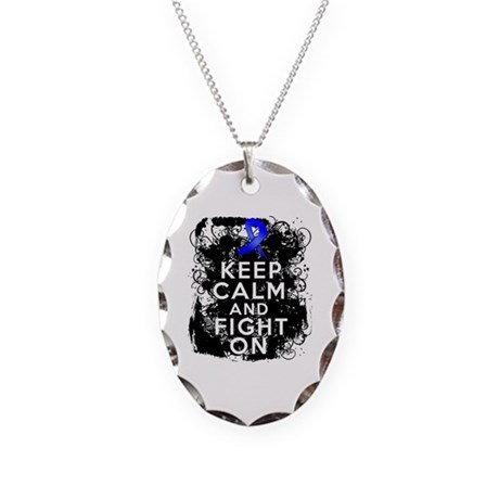 Rectal Cancer Keep Calm and Fight On Necklace Oval