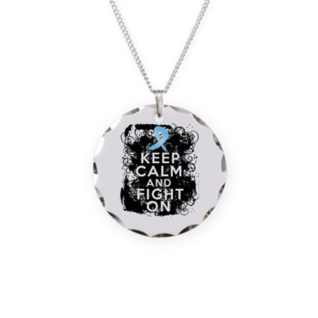 Prostate Cancer Keep Calm and Fight On Necklace Ci
