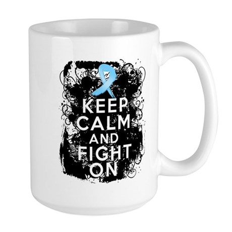 Prostate Cancer Keep Calm and Fight On Large Mug