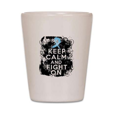 Prostate Cancer Keep Calm and Fight On Shot Glass