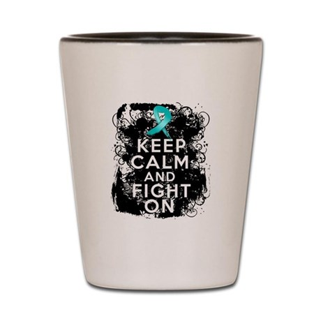 Peritoneal Cancer Keep Calm and Fight On Shot Glas