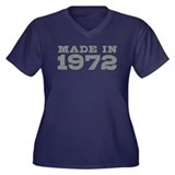 Made in 1972 Women's Plus Size V-Neck Dark T-Shirt