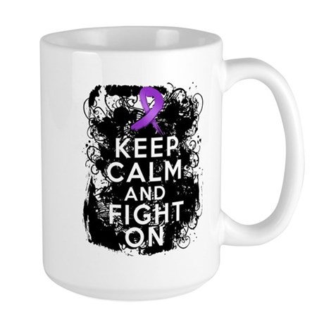 Pancreatic Cancer Keep Calm and Fight On Large Mug