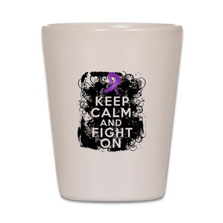 Pancreatic Cancer Keep Calm and Fight On Shot Glas