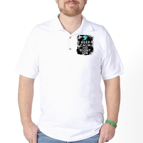 Ovarian Cancer Keep Calm and Fight On Golf Shirt