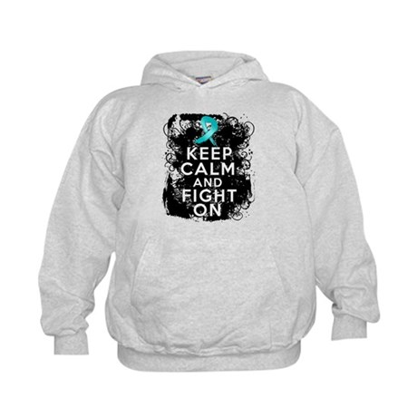 Ovarian Cancer Keep Calm and Fight On Kids Hoodie
