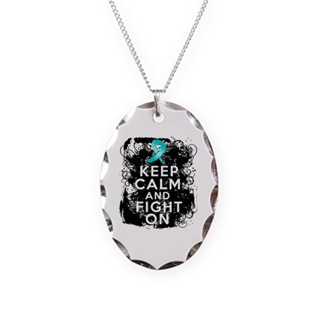 Ovarian Cancer Keep Calm and Fight On Necklace Ova