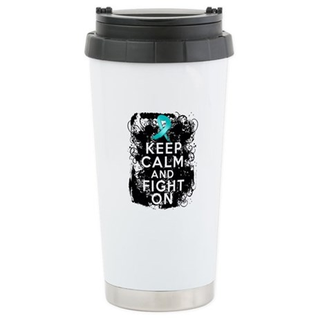Ovarian Cancer Keep Calm and Fight On Ceramic Trav
